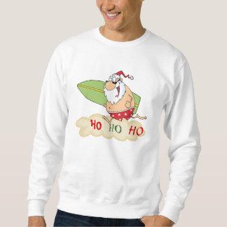 波のサンタのビーチのクリスマス スウェットシャツ