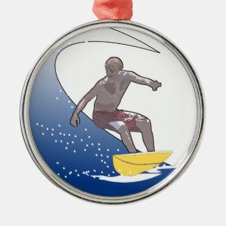 波のサーフィン メタルオーナメント