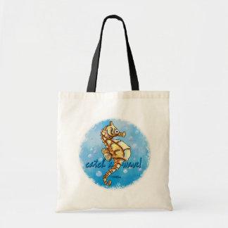 波のタツノオトシゴのバッグをつかまえて下さい トートバッグ
