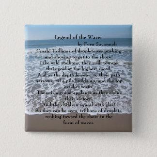 波の伝説-シダのサバンナ; ボタン/Pin 5.1cm 正方形バッジ