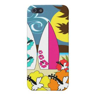 波の店のサーフィンの海のビーチのサーフボードのヤシの木 iPhone 5 ケース