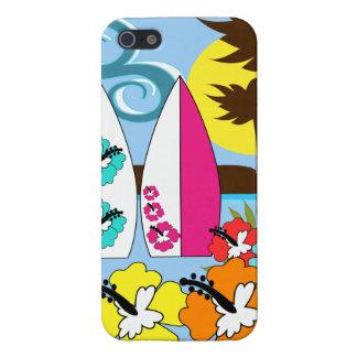 波の店のサーフィンの海のビーチのサーフボードのヤシの木 iPhone 5 CASE