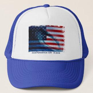 波の旗米国のトラック運転手の帽子 キャップ