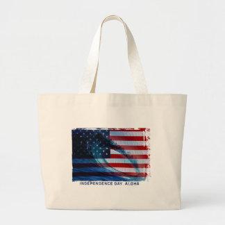 波の旗米国のビーチのバッグ ラージトートバッグ