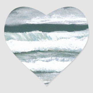 波の衝突の海の海の芸術のギフトの聴取 ハートシール