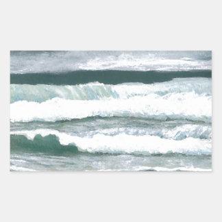 波の衝突の海の海の芸術のギフトの聴取 長方形シールステッカー