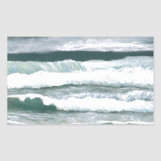 波の衝突の海の海の芸術のギフトの聴取 長方形シール