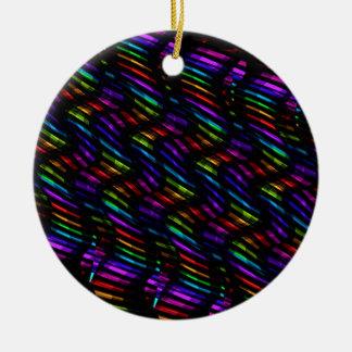 波は暗い虹の宝石のモザイクアートワークをねじります セラミックオーナメント