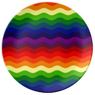 波をつかまえて下さい-虹は~V.2~を縞で飾ります 磁器プレート
