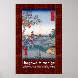 波を通したスクロールデザインHiroshige Mt富士 ポスター