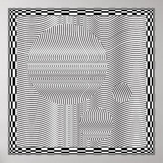 波形のオップアートおよび球ポスター ポスター