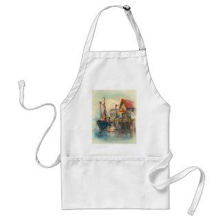 波止場に結ばれるボートの絵画 スタンダードエプロン