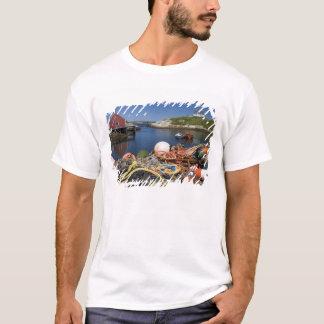 波止場のエビ取りかご、ブイおよびロープの Tシャツ