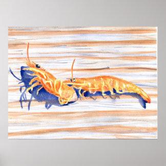 波止場のエビ、釣餌の水彩画 ポスター