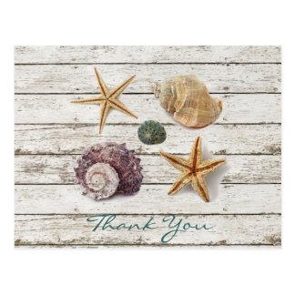 波止場の木製の貝殻のビーチ結婚式は感謝していしています はがき