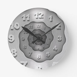 波状の金属の螺線形の時計 ラウンド壁時計