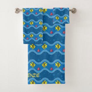 波状の青い熱帯魚 バスタオルセット
