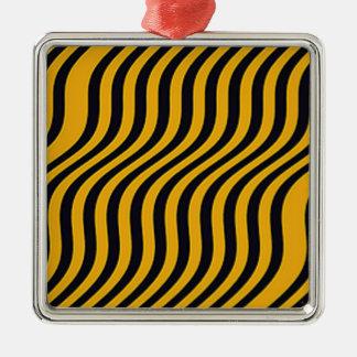 波状の《昆虫》マルハナバチのスライドは縞で飾ります シルバーカラー正方形オーナメント