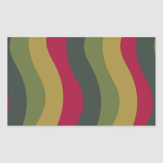 波状コケむした緑の組合せは縞で飾ります 長方形シール