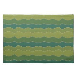波状ライン緑のランチョンマット ランチョンマット