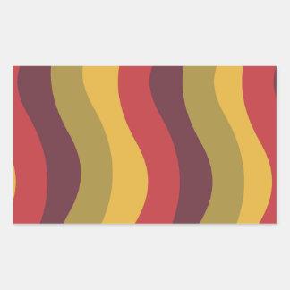 波状暖かく赤い組合せは縞で飾ります 長方形シール