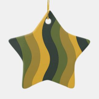 波状緑の組合せは縞で飾ります セラミックオーナメント