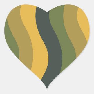 波状緑の組合せは縞で飾ります ハートシール