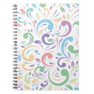 、波状、色、パターン幸せな、おもしろい花柄、モダン、t数々の ノートブック
