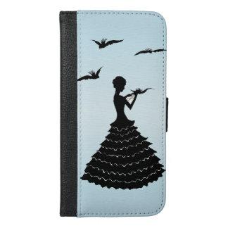 波立たせられた服のラブレターの鳩のシルエットの女性 iPhone 6/6S PLUS ウォレットケース