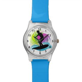 波、オスのサーファー、カラフルの渦巻May28thの腕時計 腕時計