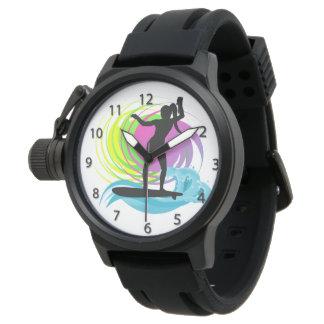 波、メスのサーファー、Mのためのカラフルの渦巻の腕時計 腕時計