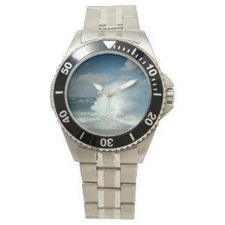 波、素晴らしいポイントNantucketぽんと鳴ります 腕時計