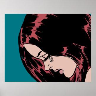 泣き叫びの女の子(ヴィンテージの喜劇的な女の子) ポスター