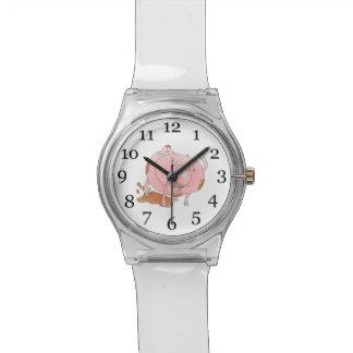泥の水溜のよくはしゃぐなブタ 腕時計