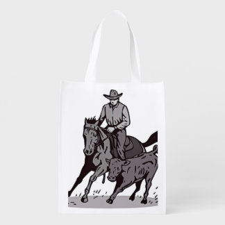 泥の漫画の人の乗馬馬 エコバッグ