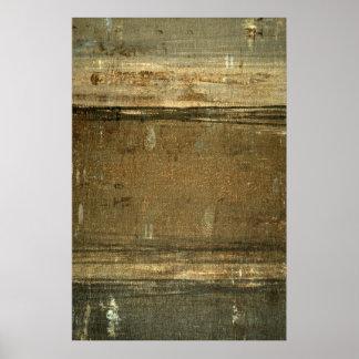 「泥の」灰色およびブラウンの抽象美術ポスタープリント ポスター