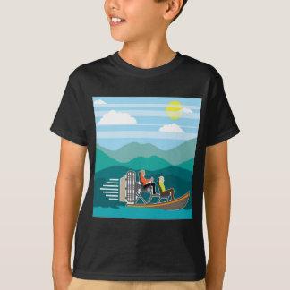 泥地のボートの乗車のエアボート Tシャツ