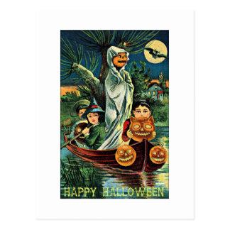 泥地の幽霊のカボチャヴィンテージハロウィン ポストカード