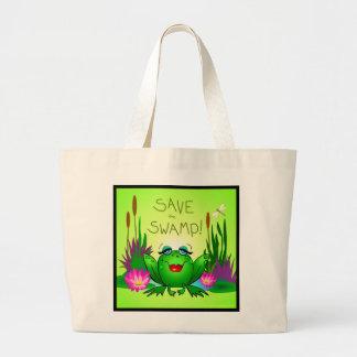 泥地のBeulahのカエルの沼地の保存を救って下さい ラージトートバッグ