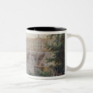 泥灰質の滝の眺め ツートーンマグカップ