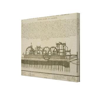 泥灰質、c.1715 (版木、銅版、版画)の水機械 キャンバスプリント