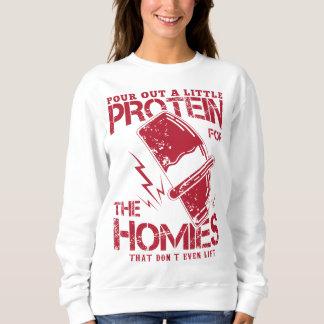 """""""注いで下さい蛋白質を…"""" #1女性のトレーナー スウェットシャツ"""