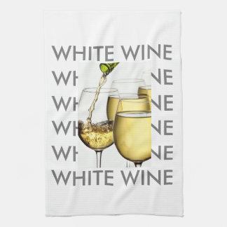 注ぐ白ワインの写真 キッチンタオル
