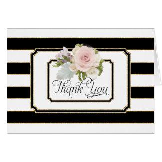 注意しますストライプのなばら色の花のアールデコにありがとう カード