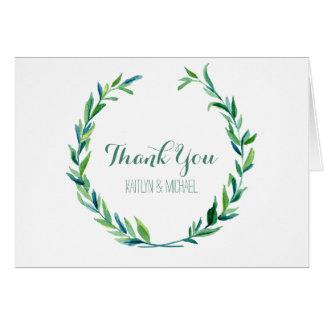 注意します月桂樹のリースのオリーブ色の葉の結婚式にありがとう カード
