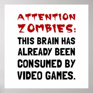 注意のゾンビのビデオゲーム ポスター