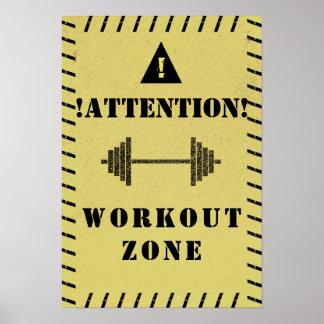 注意の印のトレーニングの地帯の体育館のスタイル ポスター