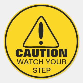 注意の印の腕時計あなたのステップ 丸型シール