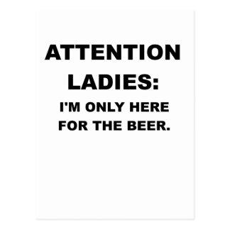 注意の女性IMここただBEER.pngのために ポストカード