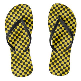 注意の黄色のチェック模様のサンダル ビーチサンダル